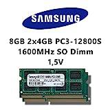 Samsung 8GB (2x 4GB) Dual-Channel Kit DDR3 1600MHz (PC3 12800S) SO Dimm Notebook Laptop Arbeitsspeicher RAM Memory