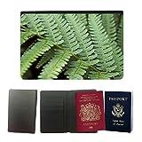 PU Pass Passetui Halter Hülle Schutz // M00159100 Farn-Grün Garten Natur Blattpflanze // Universal passport leather cover