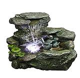 Wasserspiel Rakaia Polystone Set mit Pumpe & LED Brunnen Kunststein Kaskade edel, 2 Wasserspeier INTERGARDEN