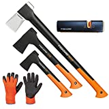 FISKARS Set Spaltaxt X25 - XL + X10 - S + X7 - XS + Xsharp Axt- und Messerschärfer + Handschuhe