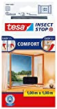 tesa Insect Stop COMFORT Fliegengitter für Fenster / Insektenschutz mit selbstklebendem Klettband in Anthrazit / 100 cm x 100 cm