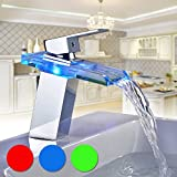 Auralum Glas Wasserhahn Waschbecken Armatur Waschtischarmatur LED RGB Licht und Modell Wählbar (Type B, mit LED RGB Licht)