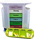 M&H-24 Tablettenbox Pillenbox Pillendose Medikamentendosierer Tablettendose Wochendosierer 7 Tage Woche Morgens Mittags Abends Nachts