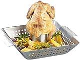 Rosenstein & Söhne Hähnchenbräter: BBQ-Hähnchen-Griller mit Aroma-Behälter für ganze Hähnchen (Hähnchenhalter)
