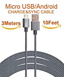 SEGMOI (TM) 3M 10FT extralange Tangle Freie Nylon Geflochtene High Speed Micro-USB-Lade Data Sync-Kabel Ladegerät Kabel mit Aluminiumleitern für Samsung HTC LG Huawei Xiaomi ZTE (grau)