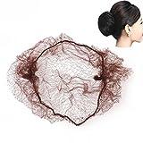 Pixnor 50 Stück Haar Netze unsichtbaren elastischen Rand Mesh (Kaffee)