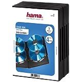 Hama DVD-Hülle für 4 DVDs (auch passend für CDs und Blu-rays, mit Folie zum Einstecken des Covers)5er-Pack, schwarz