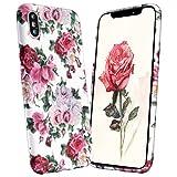 iPhone X Hülle Blumen, GoldCome 3D Leuchtend Blumenmuster Vintage Weiche TPU Silokon Handyschale Cover mit Hülle Retro Floral Anti-Kratzer Schutzhülle für Apple iPhone X 5.8 Zoll - Rose auf Weiß