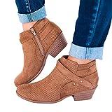 OSYARD Damen Kurze Boots Ankle Stiefeletten Mode Openwork Chelsea Boots, Frauen Vintage Shoes Pointed Toe Schuhe Schnalle Square Heel Booties Stiefel(245/40, Braun)
