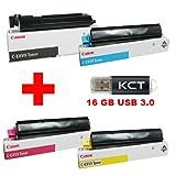 Canon IR C 3170 Original Tonerkit C-EXV9 (8640A002) schwarz / C-EXV9 (8641A002) cyan / C-EXV9 (8642A002) magenta / C-EXV9 (8643A002) gelb + 16GB KCT - USB 3.0 Stick
