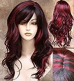 Kunsthaarperücke, Damen, Ombre-Look, glatt mit natürlichen Wellen, Schulterlänge, schwarz und rot … (#Trot)