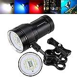 Taschenlampen,OHQ 10x XM-L2 + 4x R + 4x B 12000LM Fotografie Video Tauchen Taschenlampe Fackel (Schwarz)