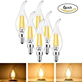 4W E14 Glühlampen LED E14 Filament Glühbirne dimmbare Edison Kerzenlampe Fadenlampe Flamme-Form LED Lampe 40W Traditionelle Energiesparlampe Äquivalent Warm Weiß 360 ° Strahlungswinkel 6Pcs