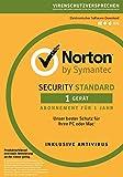 Norton Security Standard Antivirus Software 2018 / Zuverlässiger Virenschutz (Jahres-Abonnement) für 1 Gerät / Download für Windows (u.a. Vista, 8 & 10), Mac, Android & iOS