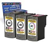 3x Druckerpatrone Ersatz für Canon PG-40 XL + CL-41 XL für Canon PIXMA MP140 MP450 MP190 MP210 MP220 MP470 MP460 IP2500 IP1800 IP1900 MX300 IP2600 IP1600 IP2200 IP1700 IP2580 MP160 MP450 X MX310 MP180 MP150 MP170 IP1200 IP1300 Fax JX200 JX210 P JX500 JX510 P JX210 P