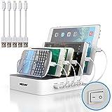 MSTJRY USB Multi Ladestation für mehrere Geräte mit Schalter Handy und Tablet Ladestation 40W...