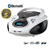 Lauson CD-Player Bluetooth | Tragbares Stereo Radio | USB | CD-MP3 Player für kinder | Stereo Radio | Stereoanlage | Kopfhöreranschluss | AUX IN | LCD-Display | Batterie sowie Strombetrieb | CP640 (Weiß)