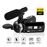 4K Videokamera WiFi Konnektivität 3,0 Zoll Touchscreen Camcorder HD Nachtsicht videokamera mit...