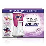 Sagrotan No-Touch Vorteilspack, Automatischer Seifenspender weiß inklusive 2 Nachfüller, Lotusblüte und Kamillenöl, Brombeere und Waldfrüchte (2 x 250ml)