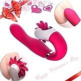 Beyanh® Vibratoren für sie,Das Ultimative Vergnügen Zungenlecken Vibrator Massager Klitoris und G-punkt mit stoßfunktion ,Sexspielzeug für Frauen und Paare,Silikon Dildo Massagegerät mit 12 Modus