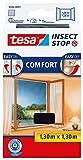 tesa Insect Stop Comfort Fliegengitter für Fenster/Insektenschutz mit Selbstklebendem Klettband/Anthrazit
