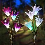 Solarleuchte Garten, Vegena 2 Stück Solar Garten Lampen Lilie Blumen Solarlicht mit Farbwechsel LED Lampen, Außen Dekoration Lichter für Garten, Terrasse, Backyard