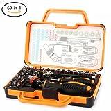 JAKEMY 69 in 1 Feinmechaniker Schraubendreher Set mit 55 Bits Magnetische Schrauberbit und 9 Steckschlüssel-Satz Ratschen Wartungskit für Automobil, Elektrogerät, PC, Macbook, Handy, Brillen (JM-6111)