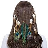 AWAYTR Jahrgang Feder Stirnband Indisch Kopfschmuck Boho Hippie Perlen Maskerade Schick Kleid Haar Zubehör Zum Frau Mädchen