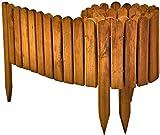 Floranica Flexibeler Beetzaun 203 cm aus Holz als Steckzaun Rollboarder, Beeteinfassung, Beetumrandung, Rasenkante oder Palisade - wetterfest imprägniert