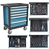 vidaXL Werkstattwagen Werkzeugschrank Rollwagen mit 270 Werkzeugen Stahl Blau