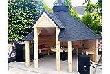 Offene Holz BBQ Hütte 9,2M2–Summer House–Grill–Teakholz–Hütte Haus kommt–mit Bitumen Fliesen, BBQ Grill/Fire mit Kochen Plattformen, Tisch rund um den Grill; verstellbare Kamin & 3innen Bänke