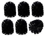 6er SET WELLGRO® Ersatz Bürstenköpfe - schwarz oder weiß - Ø 78 mm - Innengewinde, Farbe:Schwarz