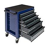 Werkstattwagen - mit 6 Schubladen - komplett pulverbeschichtet Schwarz/Blau
