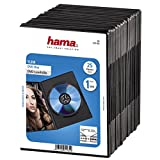 Hama DVD-Hülle Slim (auch passend für CDs und Blu-rays, extra schmal, mit Folie zum Einstecken des Covers) 25er-Pack, schwarz