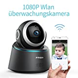FREDI 1080P HD Wlan Wifi IP Kamera Haustier Sicherheitskamera Überwachungskamera IP Cam Kabellos P2P Schwenkbar Bewegungsmelder 2 Weg Audio IR Nachtsicht für Baby Überwachung (1080P)