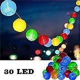 Uping Led Lichterkette 30er Batterienbetriebene Lampions Laterne für Party, Garten, Weihnachten, Halloween, Hochzeit, Beleuchtung Deko usw. 5,8M (mehrfarbig)