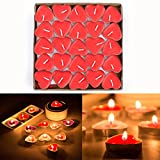 Itian 50 Stück Teelicht Set Romantische Herz Kerzen (Rot)