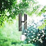 Windspiel, Pathonor Windspiel Tinkle Musical Akkordeon Holzpendel 22cm Aluminiumrohre, trendige dunkelgrau, High-End-Zen-Musik