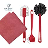 CABURI clean Spülbürsten-Set (rot) 4-teilig | bestehend aus robuster TOPF- UND PFANNENBÜRSTE, stabiler GLÄSER- UND FLASCHENBÜRSTE, universell nutzbarer ABWASCH-SPÜLBÜRSTE und einem umweltschonenden SPÜLTUCH (40 x 40 cm)