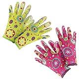 COM-FOUR® 2er Set Gartenhandschuhe Flower, Größe 8, grün & pink (02 Paar - Flower grün/pink)