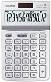 Casio JW-200TW-WE Design-Solar-Tischrechner mit glanzlackierter Metallfront, 12-stelliges, Big LC-Display, weiß