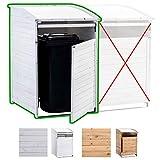 CLP Mülltonnenbox Holz 240 Liter, 1 Tonne, aufklappbares Dach, Tür mit Verschluss Mülltonnenbox MX240, Weiß