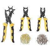 FIXKIT 3pcs Leder stanzen und Knöpfe drucken Werkzeug set, ink. Druckknopfzange, Ösenzange und Lochzange und mit 200 Knöpfe Zubehörteile