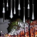 XGUO Wasserdicht 30cm 10 Tube 300 LEDs Meteorschauer Regen Schneefall 12V Deko-Leuchten Lichterkette für Außen Garten Weihnachten Dekoration Decoration EU Stecker(Weiß)