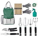 Multifunktion 9 in 1 Gartenwerkzeug Set aus Polyester und Aluminium Robust und Wasserdicht für Gartenarbeit mit Tragetasche (Grün)