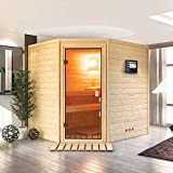 Karibu Sauna Elia mit Dachkranz (Eckeinstieg) - für niedrige Räume