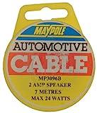 Maypole 3096B Lautsprecherkabel, Mini-Kabeltrommel, 7m, 2A, Schwarz/ Weiß