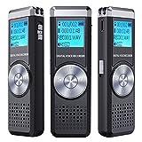 Digitales Diktiergerät,TENSAFE 8 GB Diktierapparat Tonaufnahmegerät,HD Audio Recorder,MP3-Player /...