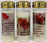 Kerzen Junglas Grablichtkerze, Grabkerze, 3er Set- 20x7,5 cm - 3862 - ca. 7 Tage Brenndauer je Grablicht - Grabkerze mit Motiv und Spruch - Trauerkerze mit Foto und Spruch