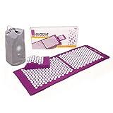 Akupressur-Set VITAL XL (aubergine): Akupressurmatte (130 x 50cm) & Akupressurkissen im günstigen Set, vitalisierende Matte für den Rücken und Kissen für den Nacken, wohltuende Entspannungsmatte & Kissen